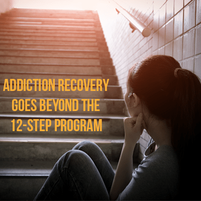 women on stairs with words Addiction Recovery Goes Beyond the 12 Step Program Schick Shadel Hospital
