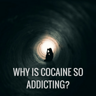 Depressed girl sitting in a dark tunnel with words that say Why is cocaine so addicting?